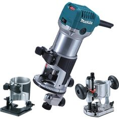 Makita Router / Laminate Trimmer with Trimmer, Plunge and Chamfer Bases The is a durable and high powered trimmer with shaft lock, horizontal power cord and flat top design. Woodworking Power Tools, Popular Woodworking, Woodworking Projects, Hand Router, Router Bits, Makita Power Tools, Drywall Sander, Plunge Router, Woodworking