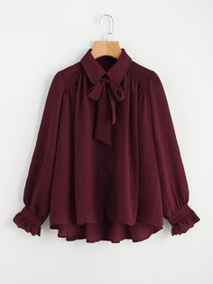 Shop Self Tie Neck Dip Hem Frill Blouse online. SheIn offers Self Tie Neck Dip Hem Frill Blouse & more to fit your fashionable needs. Stylish Dresses For Girls, Stylish Outfits, Casual Dresses, Muslim Fashion, Hijab Fashion, Fashion Dresses, Mode Abaya, Mode Hijab, Fancy Tops