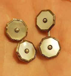 Antique gold & silver MOP & seed pearl set of cufflinks & shirt dress studs Men's Jewellery, Jewelry, Pearl Set, Metals, Silver Plate, Studs, Cufflinks, Shirt Dress, Drop Earrings