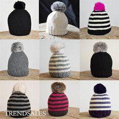 Eget Design - Lækker strik uld hue med pels kvast til vinterjakke