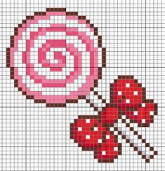 Free Lollipop Pattern for Hama Perler Beads / Bügelperlen / Cross Stitch Cross Stitch For Kids, Cross Stitch Kitchen, Cross Stitch Baby, Cross Stitch Charts, Cross Stitch Designs, Cross Stitch Patterns, Beaded Cross Stitch, Cross Stitch Embroidery, Beading Patterns