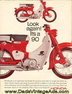Vintage 1966 Honda Cub 90 Motorcycle Ad.