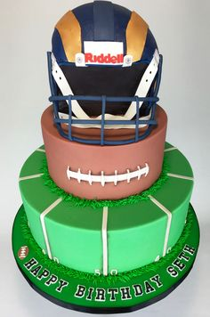 A Tiered Football Helmet Cake Designed By Layer After Helmetcake