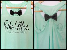 Mint The Mrs. Established 2014  Bow Tank Top by personTen on Etsy, $35.00