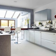 [ Kitchen Extension With Skylight White Textured Cabinetry And Highbury Islington Extensions ] - Best Free Home Design Idea & Inspiration Small Kitchen Diner, Kitchen Diner Extension, Open Plan Kitchen, Kitchen Dining, Kitchen Decor, Kitchen Ideas, Kitchen Island, Kitchen Designs, 1930s Kitchen