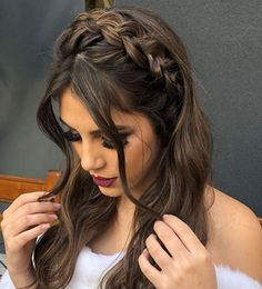 12 Easy Braids For Long Hair - Frisur ideen - Cheveux Box Braids Hairstyles, Pretty Hairstyles, Wedding Hairstyles, Hairstyles For Long Hair Prom, Bridesmaids Hairstyles Up, Hair For Prom, Hairstyles Games, Pretty Braided Hairstyles, Updos Hairstyle