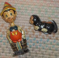 Antique Tin Marx Pinnochio and Figaro
