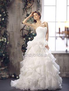 プリンセス ハートネック ブラッシュトレーン ウエディングドレス B12032