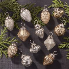 Crate & Barrel Set of 12 Antiqued Silver/Gold Glass Mini Ornaments (£20) ❤ liked on Polyvore featuring home, home decor, holiday decorations, handmade glass ornaments, glass bowl, glass ornaments, gold glass bowl and gold ornaments
