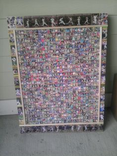 """820 baseball card collage. This Collage measures 40"""" high by 30"""" wide. The middle has 790 mini baseball cards.. If anyone is intreasted in my work, email me at sportcardart@yahoo.com. Everyone of my Collages are One Of A Kind piece of sports art. Great for that Man Cave, Spot Bars or just a fan of of sport art."""