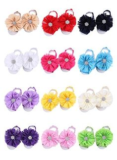 Lovinglove Toddler Baby Barefoot Girls Foot Flower Sandals Shoes (12 Packed) * Click on the image for additional details.