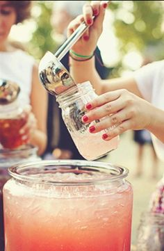 pink lemonade, and mason jar glasses...