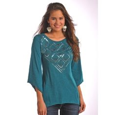 Fall fashion never looked so good!  Women's Dark Teal Bell Sleeve Jersey Knit Top.