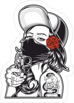 Girl With Gun Rose Cute Hot Sticker Bomb Hat Bandana Skate Vinyl Cool Sticker Graffiti Drawing, Graffiti Lettering, Art Drawings, Dessin Old School, Estilo Tim Burton, Skull Rose Tattoos, Gangster Tattoos, Desenho Tattoo, Skull Tattoo Design