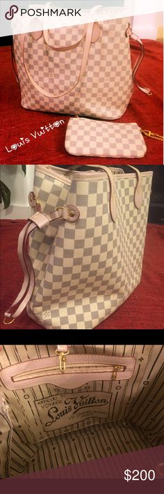 Louis Vuitton Neverfull Tote w/ matching wristlet Beautiful LV-inspired tote bag with matching wristlet. Price reflects authenticity. Louis Vuitton Bags Totes
