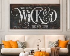 halloween decoration Industrial Gothic Halloween Decor, Something Wicked This Way Comes Creepy Rustic Fall Sign, Medieval Spooky Vintage Farmhouse Wall Decor Farmhouse Halloween, Halloween Home Decor, Halloween Signs, Halloween House, Holidays Halloween, Halloween Themes, Halloween Crafts, Halloween Party, Halloween Stuff