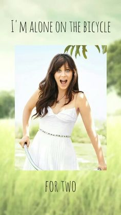 Zooey Deschanel iphone wallpaper. She & Him - Black Hole (volume 1). Smile, field, bike, bicycle, beautyful, eyes