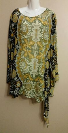 New Directions Green Floral Tunic 3/4 Sleeve Blouse Top Womens Plus 2X 16 18 #NewDirections #Tunic #Casual