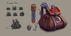 Work for a personal project Backpack Drawing, Drawing Bag, Prop Design, Game Design, Western Games, Game Props, Bag Icon, Game Concept Art, Art Bag