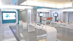 """The glossy interior of the flagship Dot FNB store in Cape Town, South Africa (pictured) uses """"interactive gesture technology,"""" which detects when people pass by the store front, prompting messaging and letting customers interact with the screen to learn more about its products and services."""