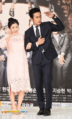 [Photos] Cha In-pyo and Ra Mi-ran's couple pose sweeps 'The Gentlemen of Wolgyesu Tailor Shop' press conference