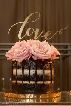 Wedding Cake for Two / Naked Wedding Cake / Chocolate Cake with Vanilla Buttercream and Drizzled Chocolate Ganache / Photo Credit to Jennifer Lust Portrait Design / Love'n Sweets Home Bakery