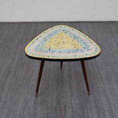 Rare 1950s coffee table with colourful mosaic - www.velvet-point.com