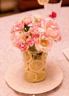 Mothers Day Bouquet, Tablescape, and Mantle. Lemon slices in mason jar with twine.