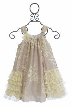 Isobella and Chloe Elegant Girls Dress with Ivory Rose Embellishment