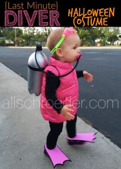Need a simple, last minute Halloween Costume for your toddler? Before I was even pregnant, I saw a photo of little trick-or-treat divers on Pinterest. The kids in the photo were much older than my… #halloweencostumekids #halloweenstuff