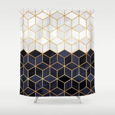 Buy Shower Curtains featuring White & Navy Cubes by Elisabeth Fredriksson. Made from 100% easy care polyester our designer shower curtains are printed in the USA and feature a 12 button-hole top for simple hanging.