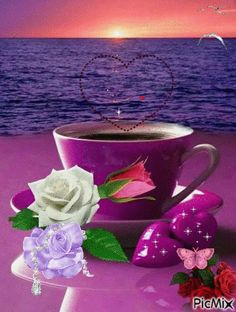Good Morning Gift, Good Morning Coffee, Good Afternoon, Beautiful Love Pictures, Beautiful Moon, Beautiful Morning, Morning Pictures, Good Morning Images, Gif Café