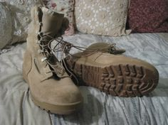 BELLEVILLE Suede Leather Military Beige Boots Sz 9.5 W $47.50