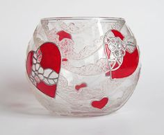 Hand painted glass candle holder - Crystal Heart