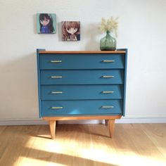 SOLD OUT - Chest of drawers, dresser, cabinet, vintage, mid century modern, 50s, blue, model Agathe by ChouetteFabrique on Etsy https://www.etsy.com/listing/207514345/sold-out-chest-of-drawers-dresser