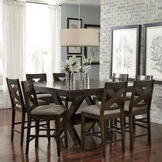 transitional breakfast room with bar height table | White Dining ...