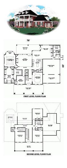 Plantation House Plan 47157 | 4347 sq. ft., 3 bedrooms, 3 full bathrooms and 2 half baths. #plantationhome