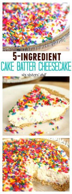 Creamy cake batter cheesecake nestled inside a sugar cookie crust
