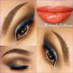 orange lips and blue eye lliner Love Makeup, Makeup Tips, Makeup Looks, Hair Makeup, Pretty Makeup, Makeup Ideas, Coral Lips, Orange Lips, All Things Beauty