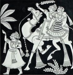 Rajasthani Couple on Riding on a Camel - Folk Art Paintings (Phad Painting on Cloth - Unframed) Phad Painting, Mural Painting, Mural Art, Fabric Painting, Emboss Painting, Murals, Wall Art, Rajasthani Painting, Rajasthani Art