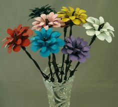 Colorful Metal Flowers   Five Barbed Wire Stemmed by merritthyde