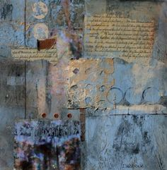 Lost In Translation by Lauren Daddona, 10 x mixed media, acrylic, washi, copper Mixed Media Painting, Mixed Media Collage, Mixed Media Canvas, Collage Art, Collages, Art Doodle, Collage Techniques, Mixed Media Journal, Encaustic Art