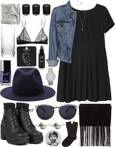 Untitled #988 by wtftowear featuring Crate and Barrel  Monki long print dress, $45 / Levi s blue jean jacket, $26 / Brooks Brothers socks $6/ Topshop stud earrings, $12 / Cosmic jewelry, $1.92 / Cross jewelry $30/ MANGO metal glasses, $28 / Chanel nail polish $27/ Beauty product / Linea vanilla candle, $16 / Crate and Barrel drinkware $12
