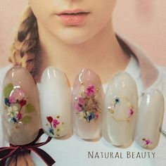 Dried flower nail art ~ I had tried to have this done years ago in a french manicure