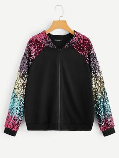 To find out about the Colorful Sequin Raglan Sleeve Zip Up Hoodie at SHEIN, part of our latest Sweatshirts ready to shop online today! Jean Moda, Cool Hoodies, Cheap Hoodies, Ladies Dress Design, Types Of Sleeves, Jogging, Fashion News, Fashion Fashion, Vintage Fashion
