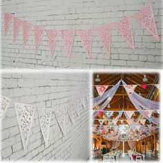 Sale 11% (4.88$) - 8M White Lilac Paper Triangle Hollow Out Wedding Garland Bunting Burlap Decoration With String