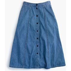 J.Crew Button-Front Midi Skirt ($84) ❤ liked on Polyvore featuring skirts, j. crew skirts, mid calf skirts, summer midi skirts, long skirts and button front midi skirt
