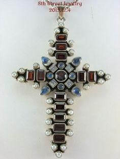 Nicky-Butler-Sterling-Silver-925-3-5-MultiGem-Cross-Pendant-36-Sterling-Chain