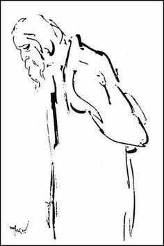 Sketch of Tagore by Satyajit Ray. Pen Sketch, Anime Sketch, Art Sketches, Art Drawings, Bengali Art, Calcutta, Satyajit Ray, Bd Art, Rain Painting