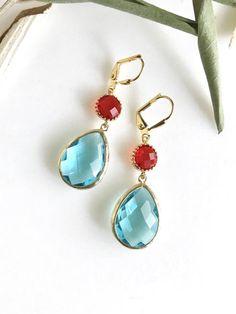 Aquamarine and Red Bridesmaid Earrings. Jewel Fashion Earrings. $34